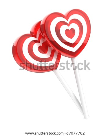 Two lollipops heart shaped isolated on white - stock photo