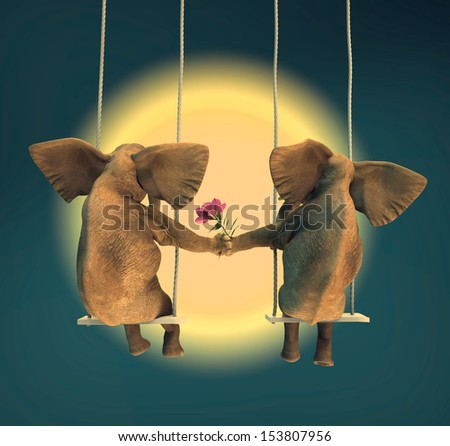 Two lovers elephants in the swing - stock photo