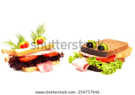 Two lovers funny sandwich for child, isolated on white background. - stock photo