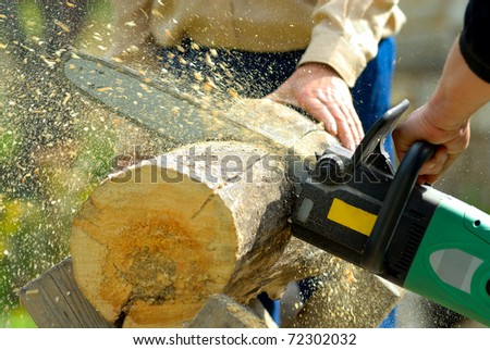 two lumberjacks at work, loggers - stock photo