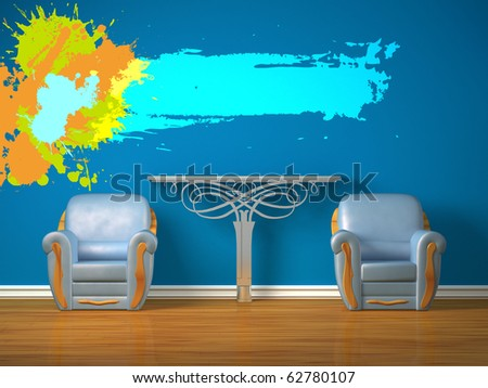 Two luxurious chairs with metallic console and splash frame in minimalist interior - stock photo
