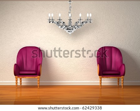 Two luxurious chairs with silver chandelier in minimalist interior - stock photo