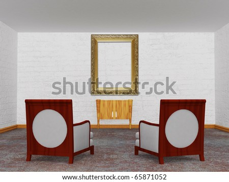 Two luxurious chairs with wooden console and empty ornate frame  in minimalist interior - stock photo