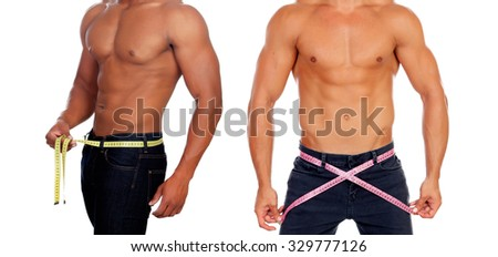 Two male bodies with tape measure isolated on white - stock photo