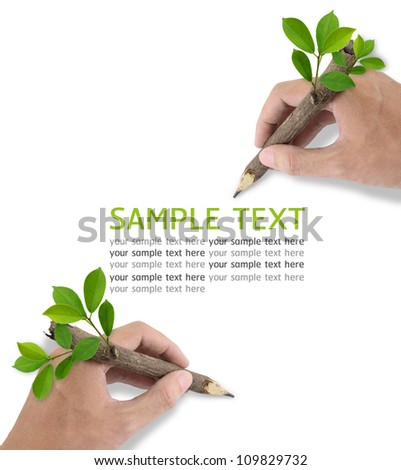 Two Male hand drawing on white background. - stock photo