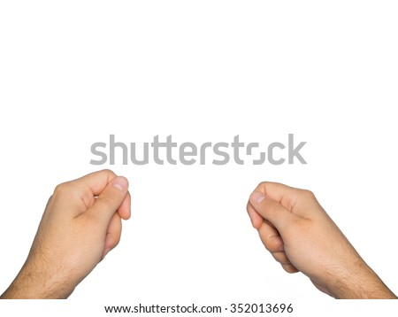 Two male hands isolated on white background. - stock photo