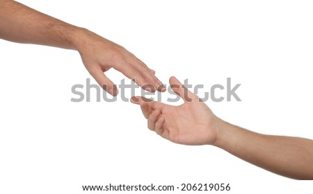 Two male hands reaching towards each other. Isolated - stock photo