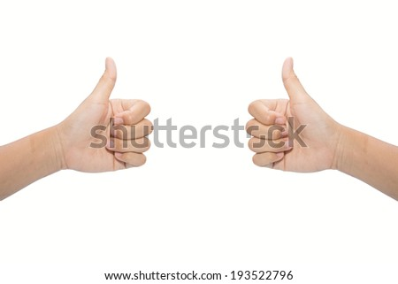 Two male hands showing thumbs up sign against white background  - stock photo