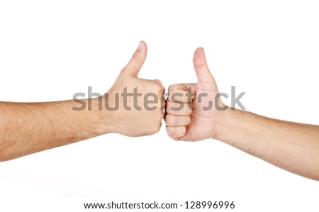 Two male hands with fingers up isolated on a white