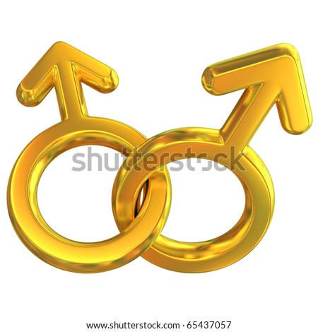 two male symbols crossed representing gay relationship, golden, isolated over white background, 3d concept - stock photo