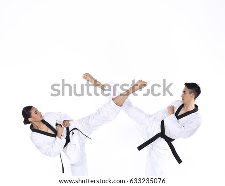 Two man and woman Master Black Belt TaeKwonDo Teacher show fighting session kick and pounch, studio lighting white background. concept fight together