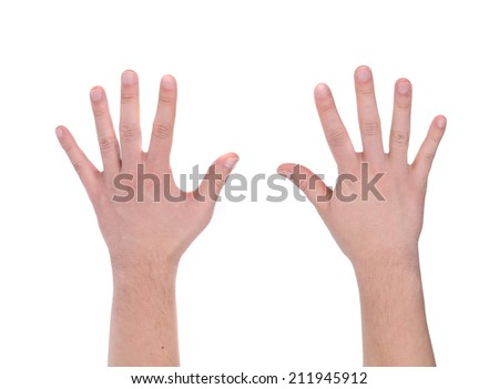 Two man hands. Isolated on a white background.