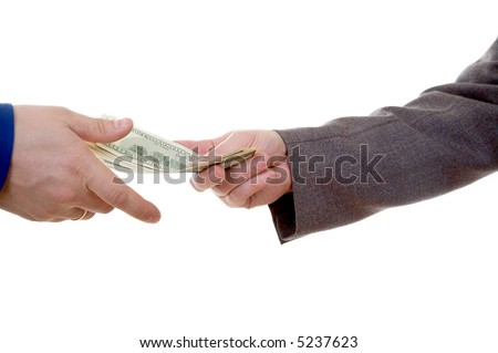 Two man's hands with money isolated at the white background