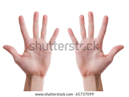 Two man's hands with open palms isolated on white background - stock photo