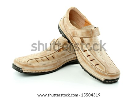 Two man's leather shoes of brown color, isolated on white, (look similar images in my portfolio) - stock photo