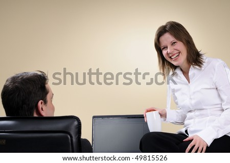 two managers communicating in office - stock photo