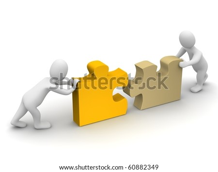 Two mans completing puzzle. 3d rendered illustration. - stock photo