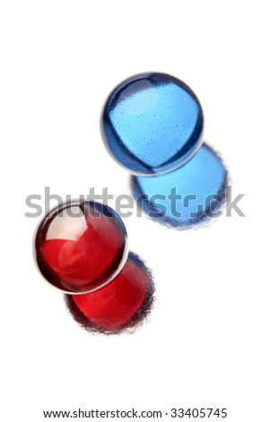 Two marbles isolated over white