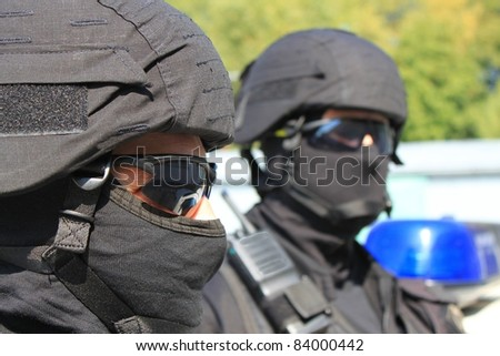 two masked police special unit