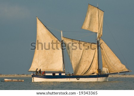 Two-masted fishing sailboat. Morondava, Madagascar