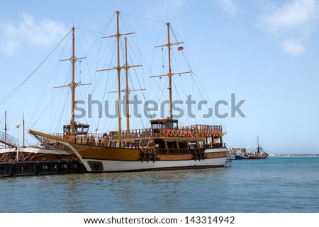 Two masted wooden sailing boat from the south coast of Russia, Gelendjik - stock photo