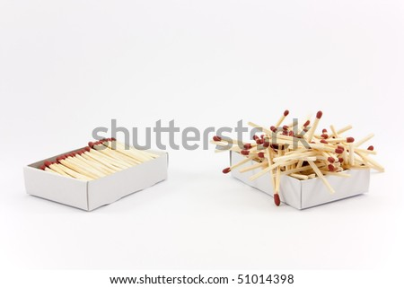 Two matchboxes, the one on the left looks tidy and the matches fit nicely inside, the one on the right looks chaotic and the matches don't fit. - stock photo