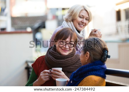 Two mature women drinking tea on the balcony and smiling - stock photo