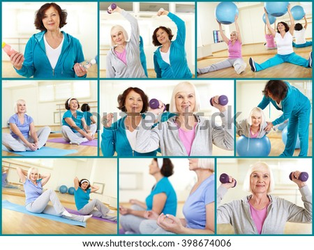 Two mature women exercising at gym - stock photo