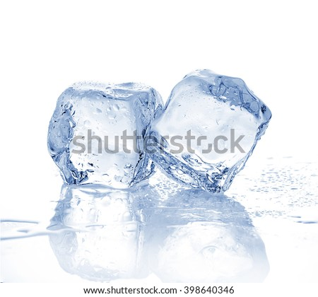 Two melting ice cubes on a white background.