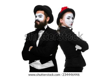 Two memes as businessmen compete with each other, isolated on a white background. concept  of confrontation and antagonism - stock photo