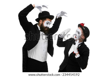 Two memes as businessmen fighting, isolated on a white background. concept  of attack and submission - stock photo