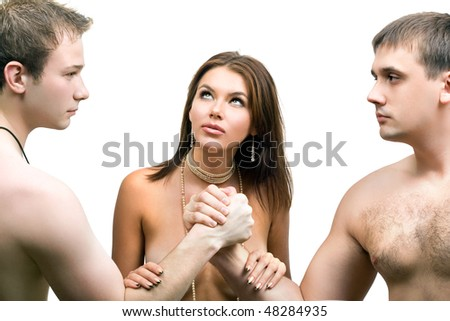 Two men are fighting for a woman. Isolated - stock photo