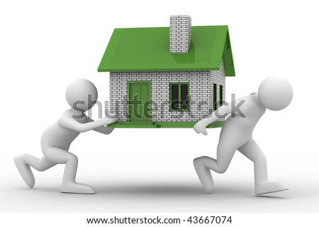 two men carry house. Isolated 3D image - stock photo
