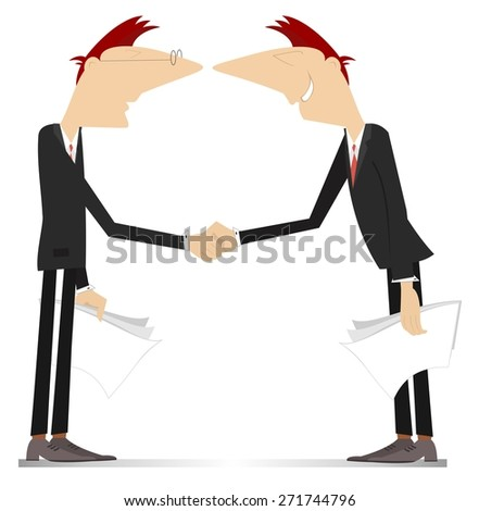 Two men come to terms and shake hands - stock photo