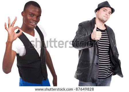 two men doing ok sign and thumb up - stock photo