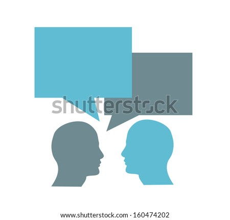 Two men head shapes with dialog clouds, discussion - stock photo