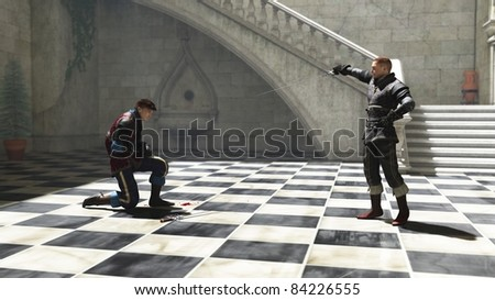 Two men in a sunny courtyard fighting a duel to first blood, 3d digitally rendered illustration - stock photo