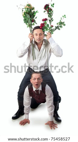 Two men on a white background with a bouquet - stock photo