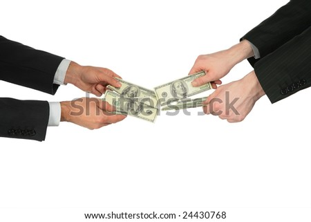 Two men's hands with dollars