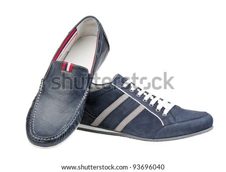 Two men shoes isolated over white background - stock photo