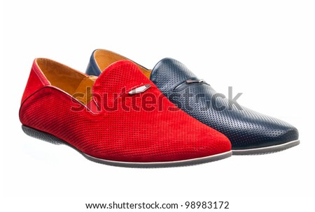 Two men shoes over white background - stock photo