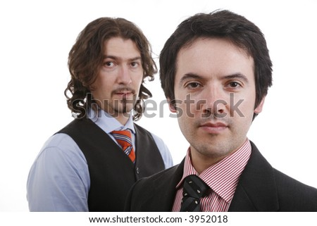 two men thinking about business in the office....... - stock photo