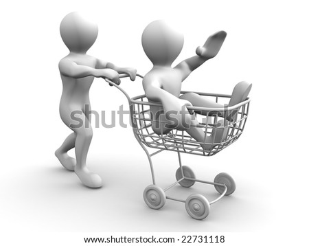 Two men with consumer's basket. 3d