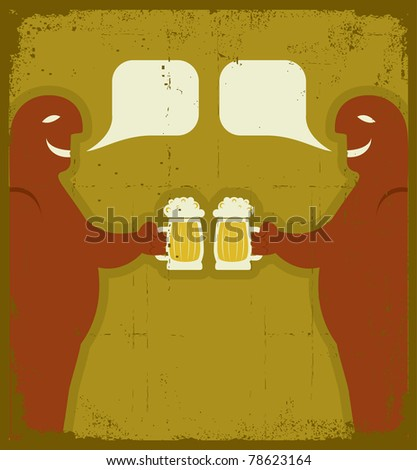 Two men with glasses of beer who toast.Raster - stock photo