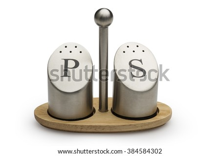 Two metal salt and pepper shakers isoalted , Clipping Path included  - stock photo