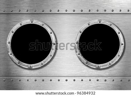 two metal ship portholes - stock photo