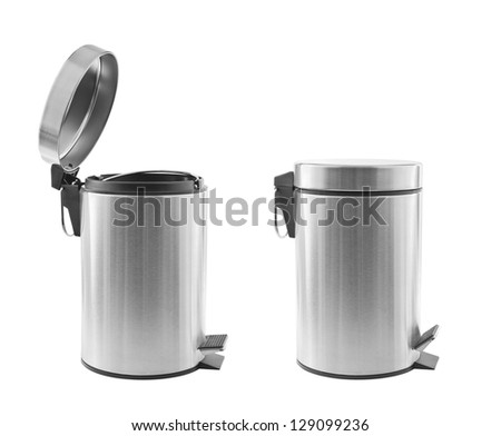 Two metal trash cans, one open, one closed, isolated on white - stock photo