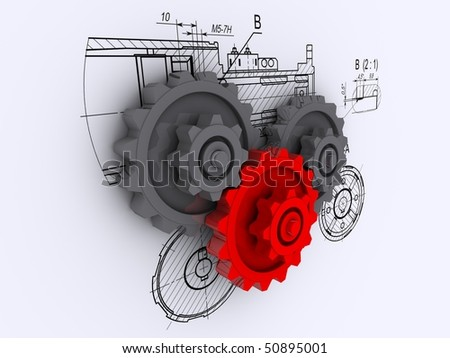 two metallic gray and one red metallic gears against a background of engineering drawings with shadow - stock photo