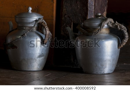 Two metallic  pots used in buddhist monasteries