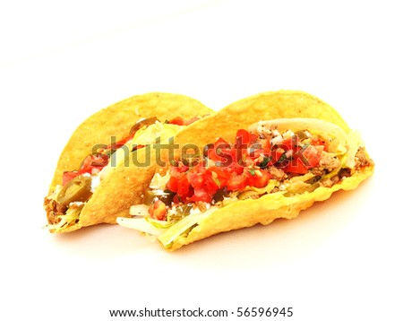 two mexican taco isolated object